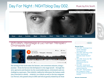 NIGHTblog - The Music of Eric Scott (Day For Night)