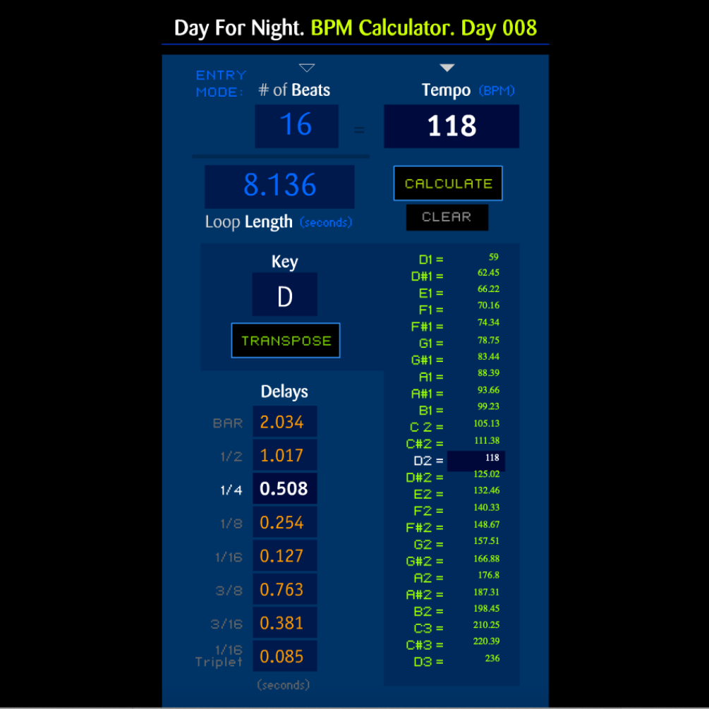 Day For Night :: BPM Calculator v1.3 [Day 092]
