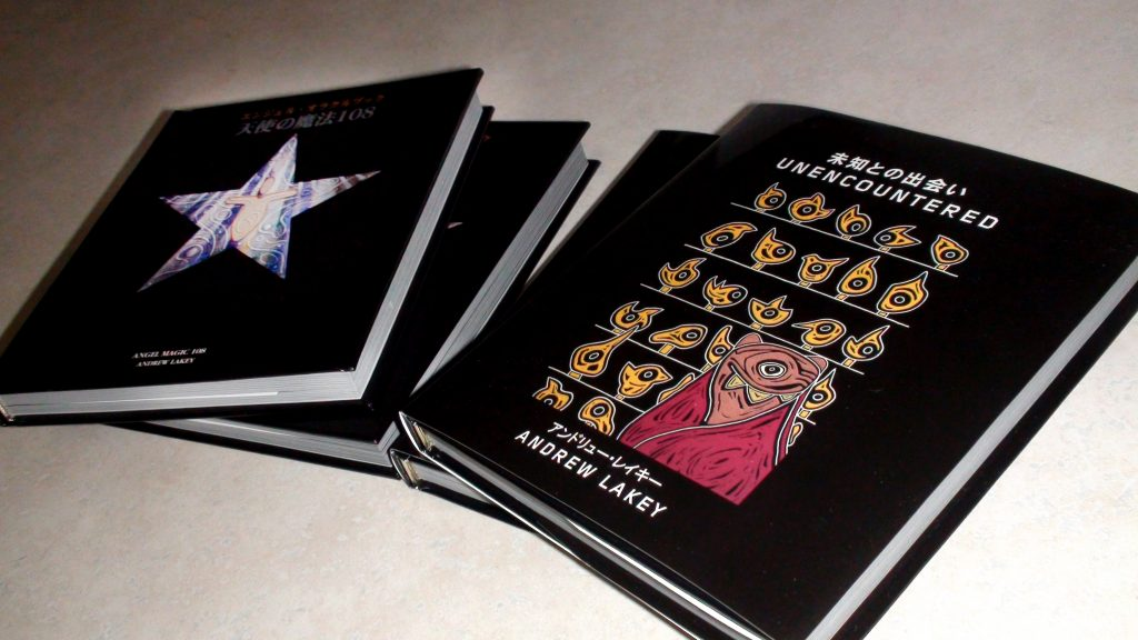 "Andy Lakey Books ""Angel Magic 108"" (2007, left) and ""Unencountered"" (2009, right) for Japan. Art Direction/design by Eric Scott / Day For Night."