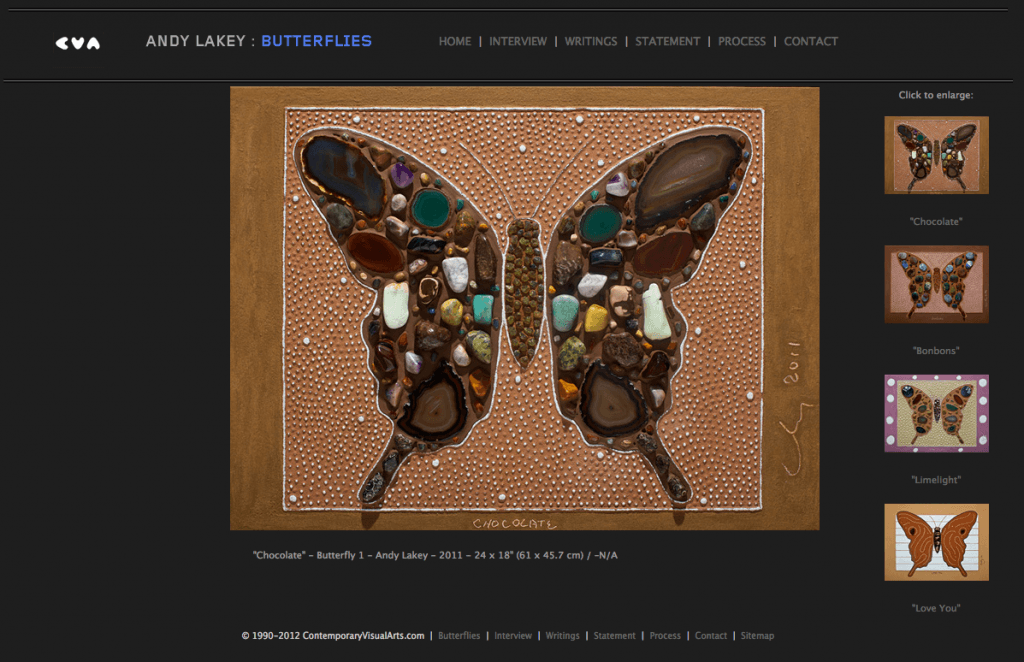 "Artist Andy Lakey's ""Butterflies"" mini-site - Art Direction and Design by Eric Scott (Day For Night)"