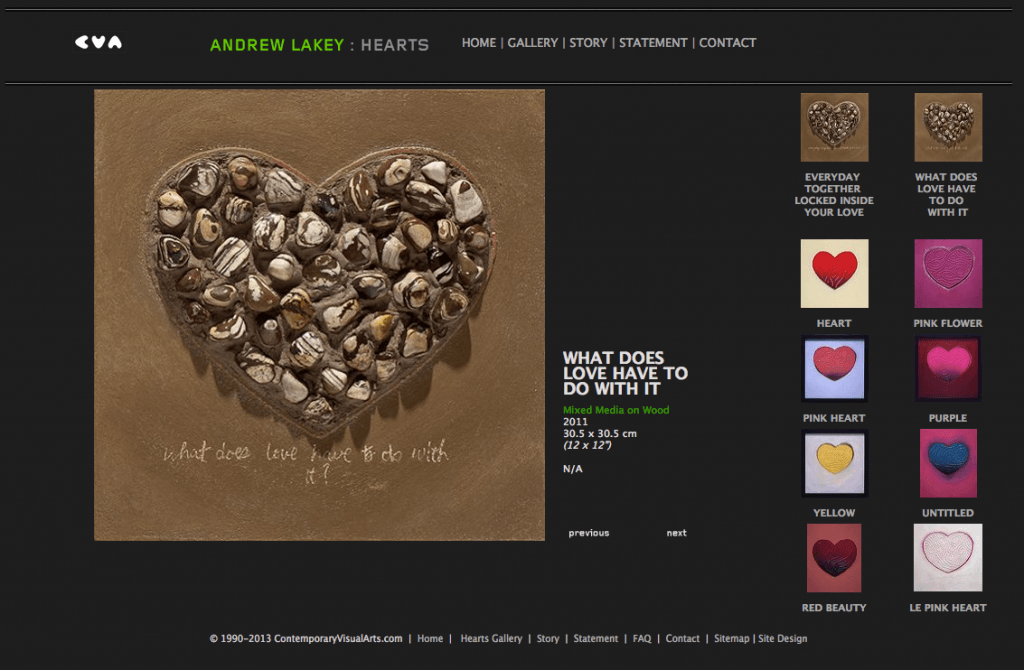 "Artist Andy Lakey's ""Hearts"" mini-site - Art Direction and Design by Eric Scott (Day For Night)"
