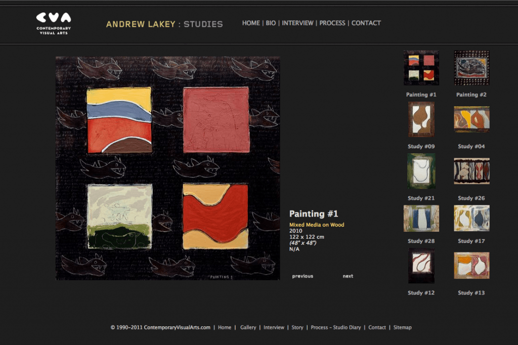 Andy Lakey Studies - Site Design and art direction by Eric Scott (Day For Night)
