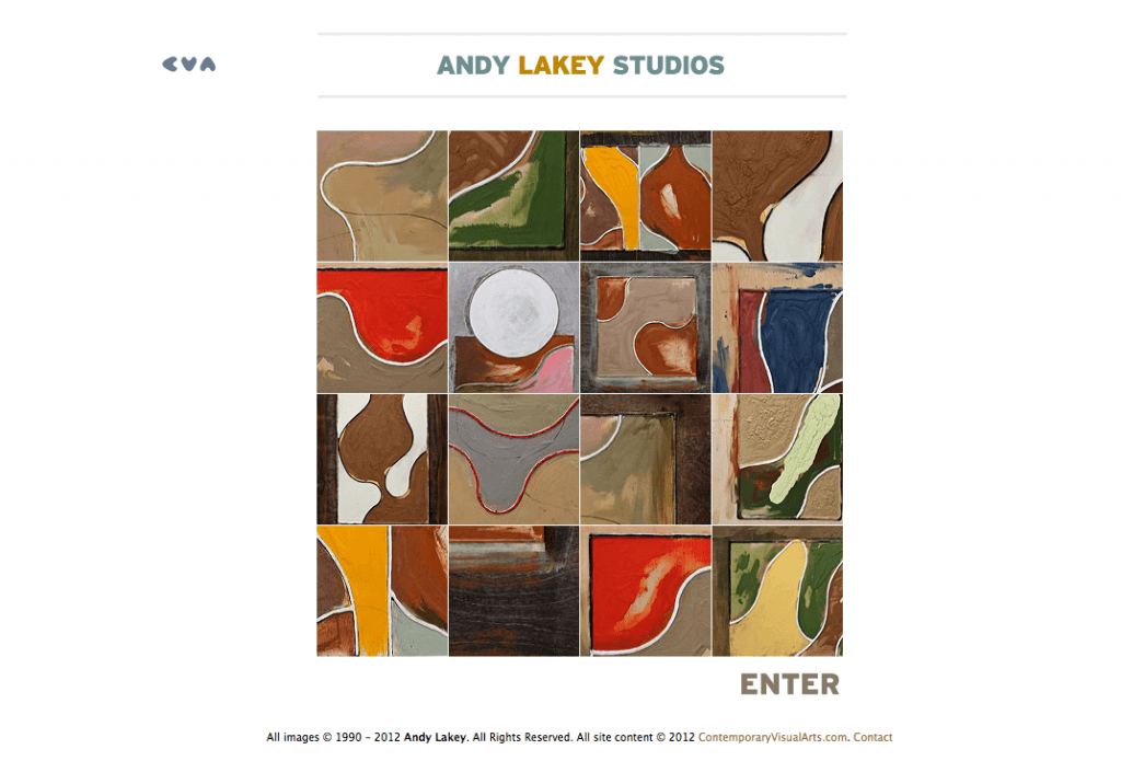 Artist Andy Lakey's Studios mini-site - Art Direction and Design by Eric Scott (Day For Night)
