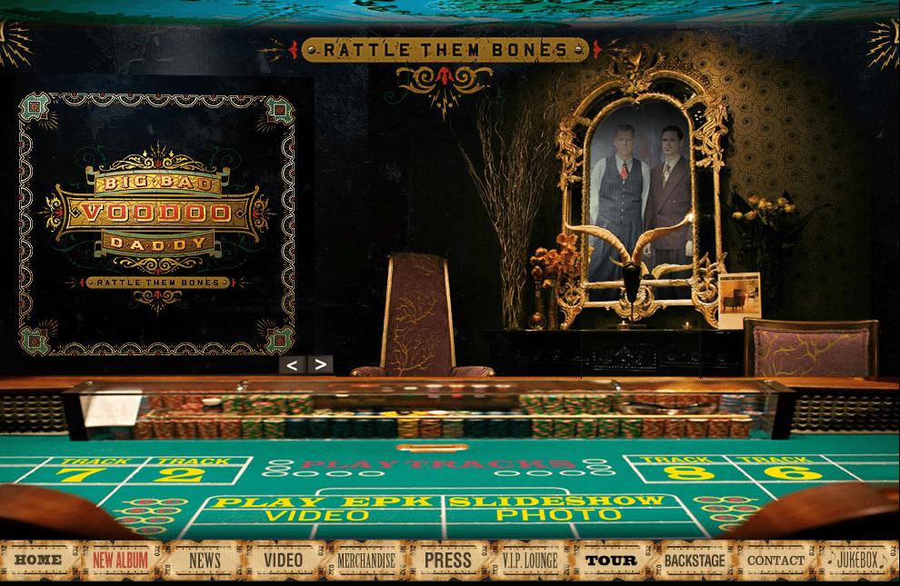 "Big Bad Voodoo Daddy microsite, for the 2012 album ""Rattle Them Bones"" - Design/Art Direction by Eric Scott/Day For Night. Original album design by Andy Engel Studios."