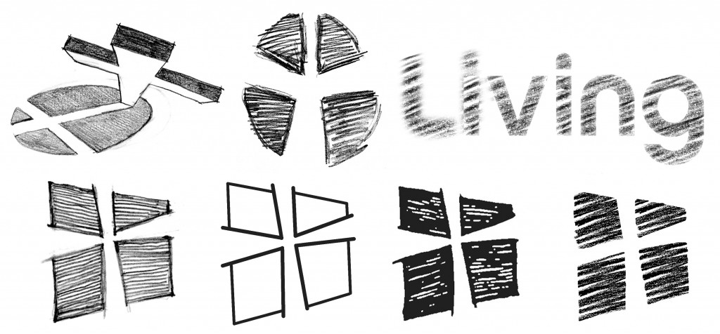 A small cross-section of the introductory logo sketches for the Living.org brand --mapping the journey taken in development of the final logo (see top).