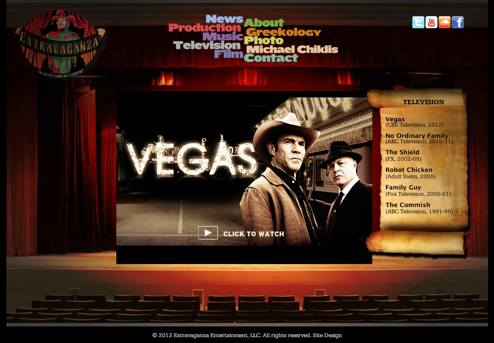 Extravaganza Productions LLC - The website of actor/producer/director Michael Chiklis (MichaelChiklis.com) - Design/Web Development/Programming/Art Direction by Eric Scott/Day For Night