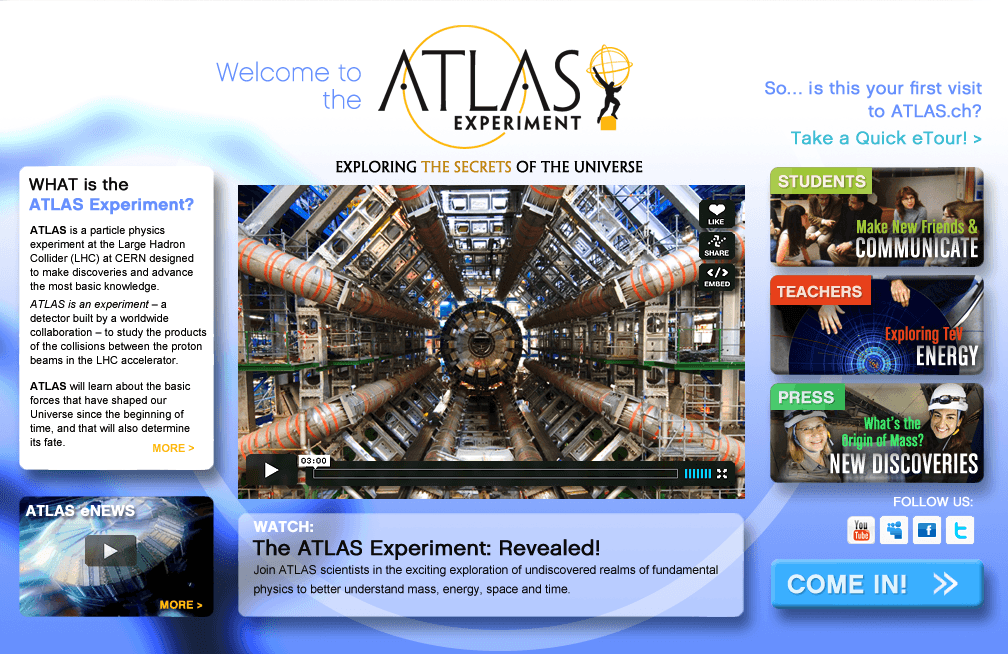 Atlas Experiment - Proposed homepage design from branding exercise. Design & Art Direction by Eric Scott (Day For Night), with Kristy Manning (branding consultant)