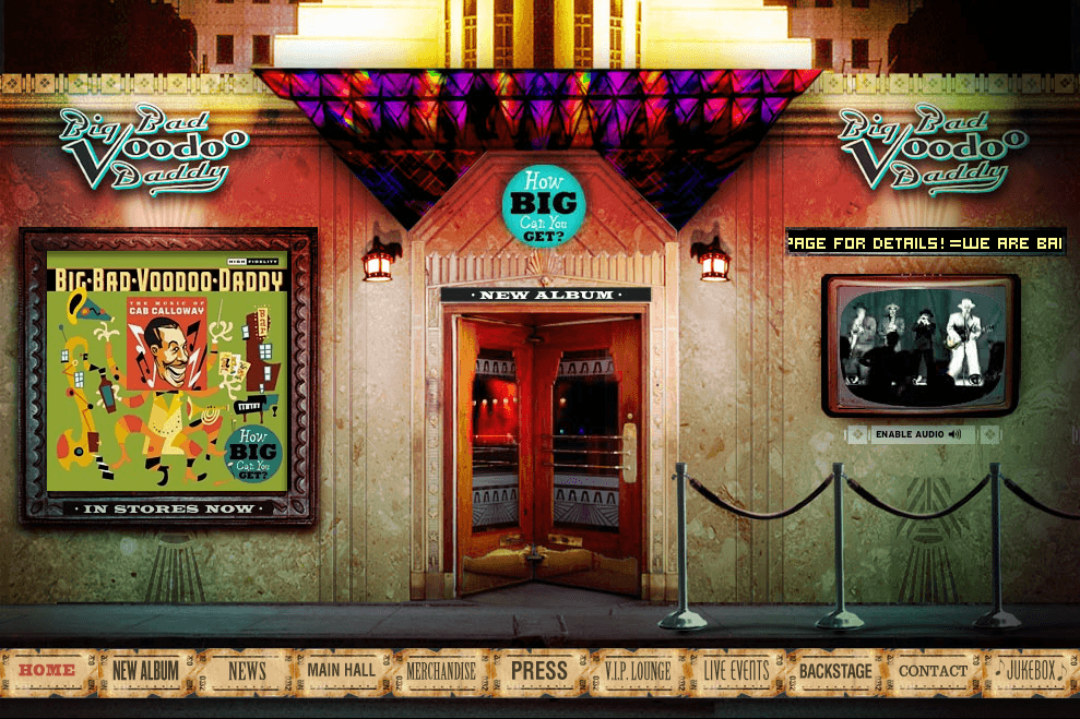 BBVD.com, official site to the swing/dance band Big Bad Voodoo Daddy - Art direction, design and web development by Eric Scott (Day For Night)