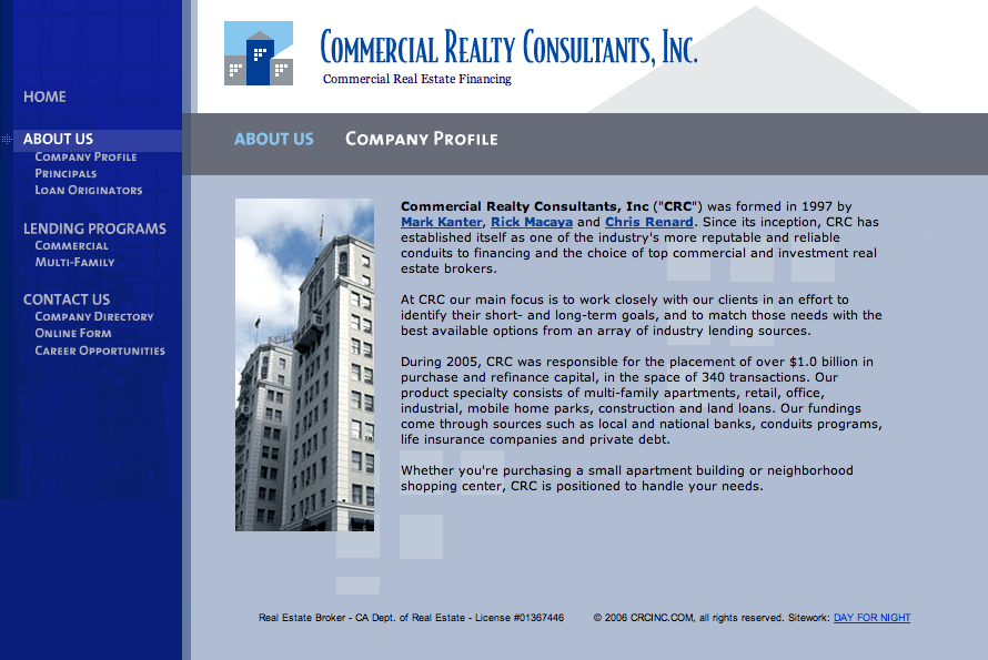 Commercial Realty Consultants - Custom Site Development – Design and Art Direction by Eric Scott (Day For Night)