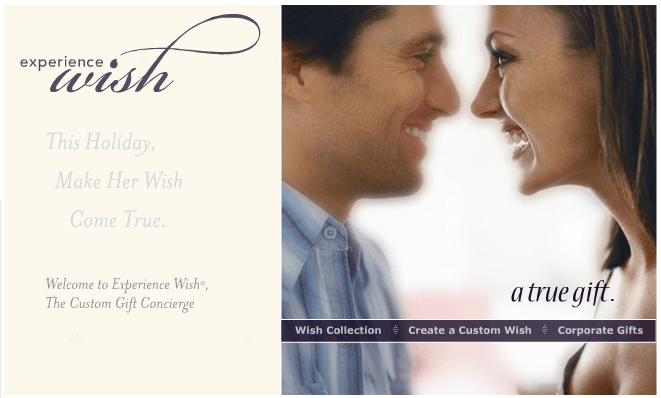 Experience Wish, the custom gift concierge for her -- Official site: Art direction, design and Flash development by Eric Scott (Day For Night)