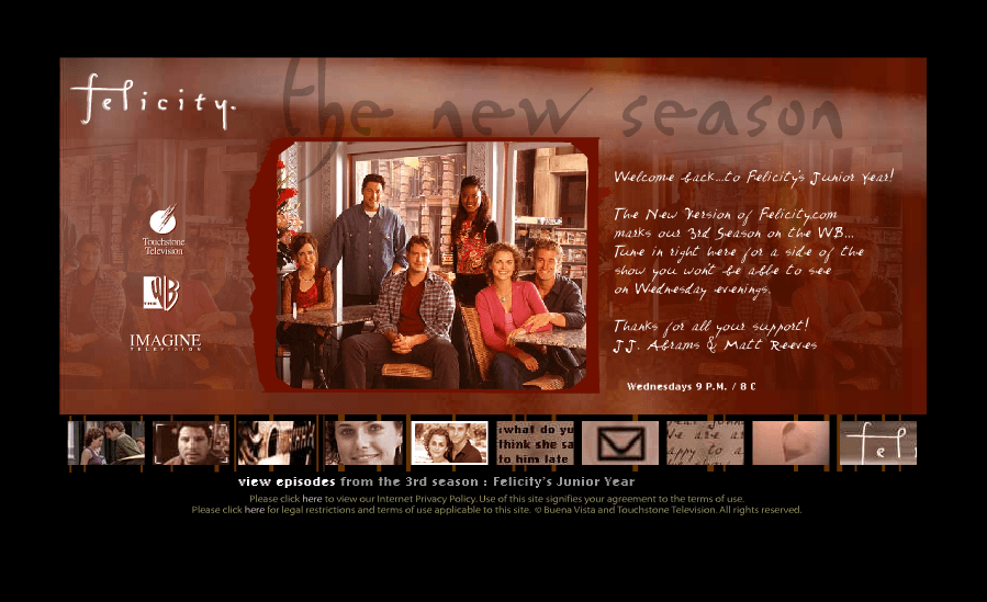 "Felicity.com ""Junior Year"" update of the official site, moving the show to an ensemble format - Art Direction, Design & Strategic Development by Eric Scott (Day For Night) with Toni O'Bryan."