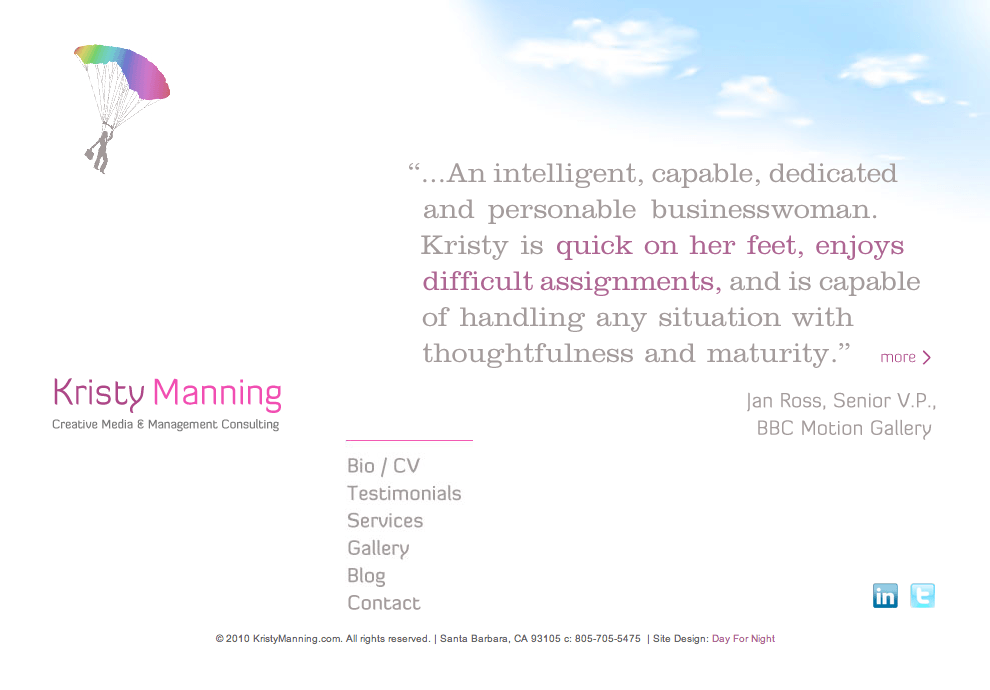 Kristy Manning.com - Consulting Website - Art Direction, branding and identity and site development by Eric Scott (Day For Night)