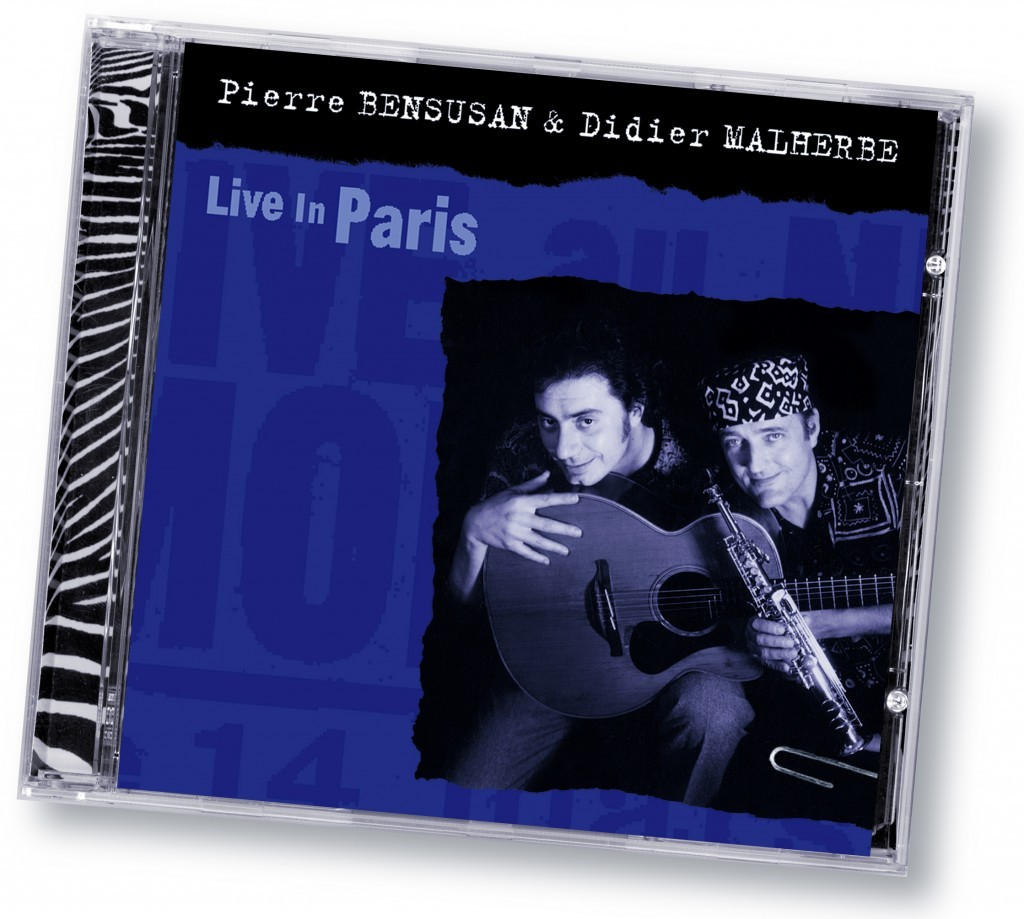 "Pierre Bensusan & Didier Malherbe ""Live In Paris"" (Zebradisc) - Art Direction and Design by Eric Scott (Day For Night) in association with WorldWest Communications"