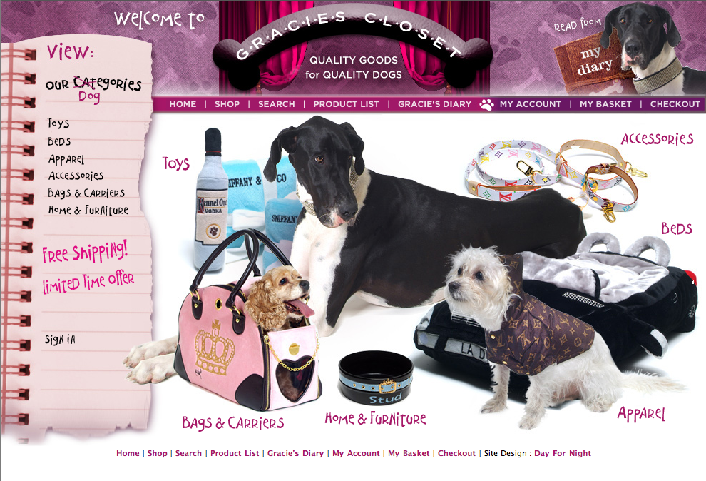 Shop At Gracies.com (aka Gracie's Closet) - e-commerce/haute-couture online doggie boutique - Art Direction by Day For Night