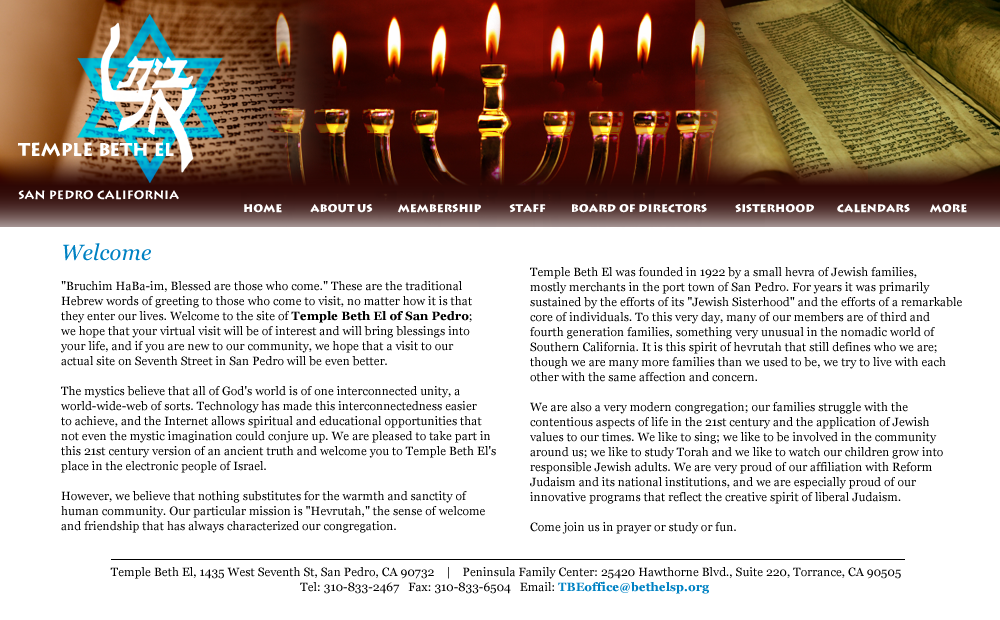 Temple Beth El of San Pedro - Site Design by Eric Scott (Day For Night)