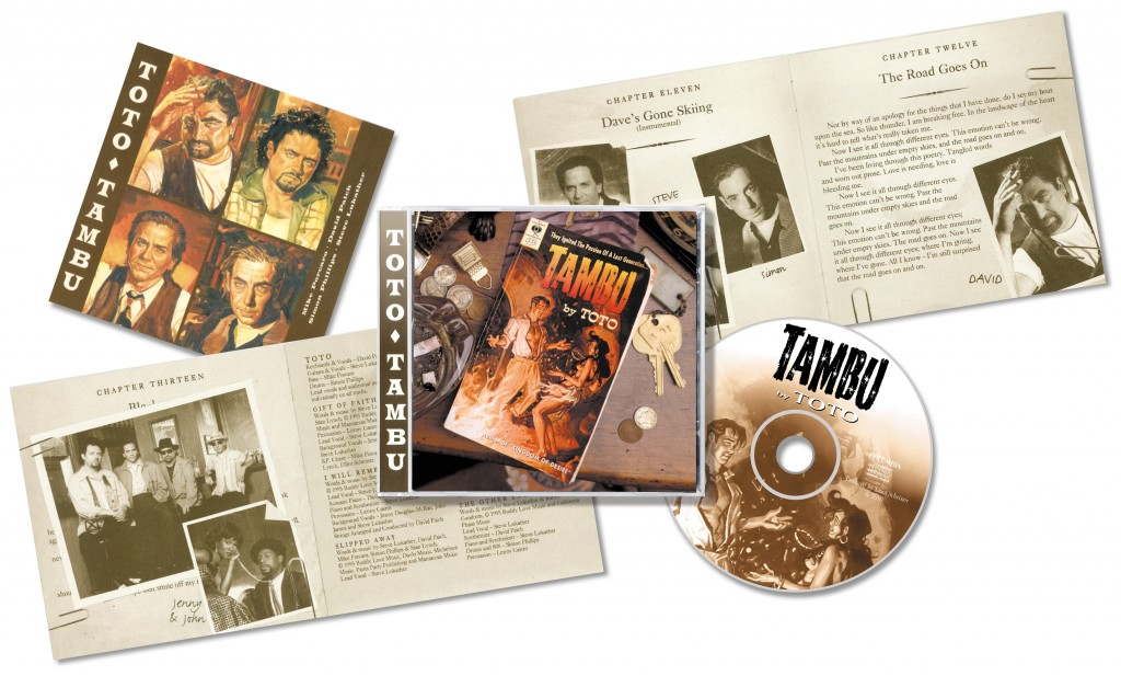 "Toto ""Tambu"" - CD release collage views - Design & Art Direction by Eric Scott (Day For Night), Illustrations by Daniel Brereton, Creative Direction by Doug Brown"