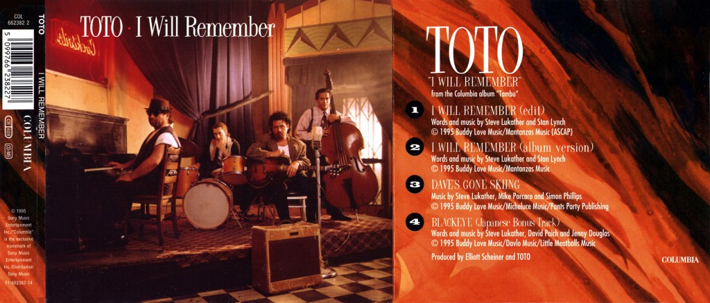 "Toto ""I Will Remember"" - CD-s release - Design & Art Direction by Eric Scott (Day For Night), Creative Direction by Doug Brown"