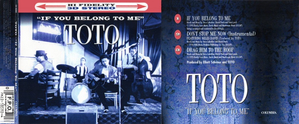 "Toto ""If You Belong To Me"" - CD-s release - Design & Art Direction by Eric Scott (Day For Night), Creative Direction by Doug Brown"