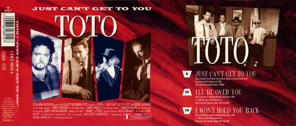 "Toto ""Just Can't Get To You"" - CD-s release - Design & Art Direction by Eric Scott (Day For Night), Creative Direction by Doug Brown"