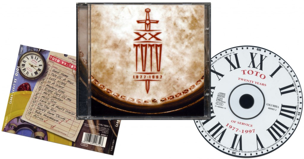 """Toto """"XX"""" 1977-1997 - Design & Art Direction by Eric Scott with Brian Peterson, Logo Design by Magdy Rizk"""