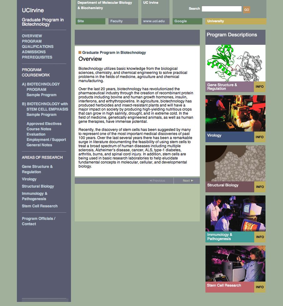 UC Irvine Graduate Program in Biotechnology Custom Site - Art Direction & Design by Eric Scott (Day For Night)