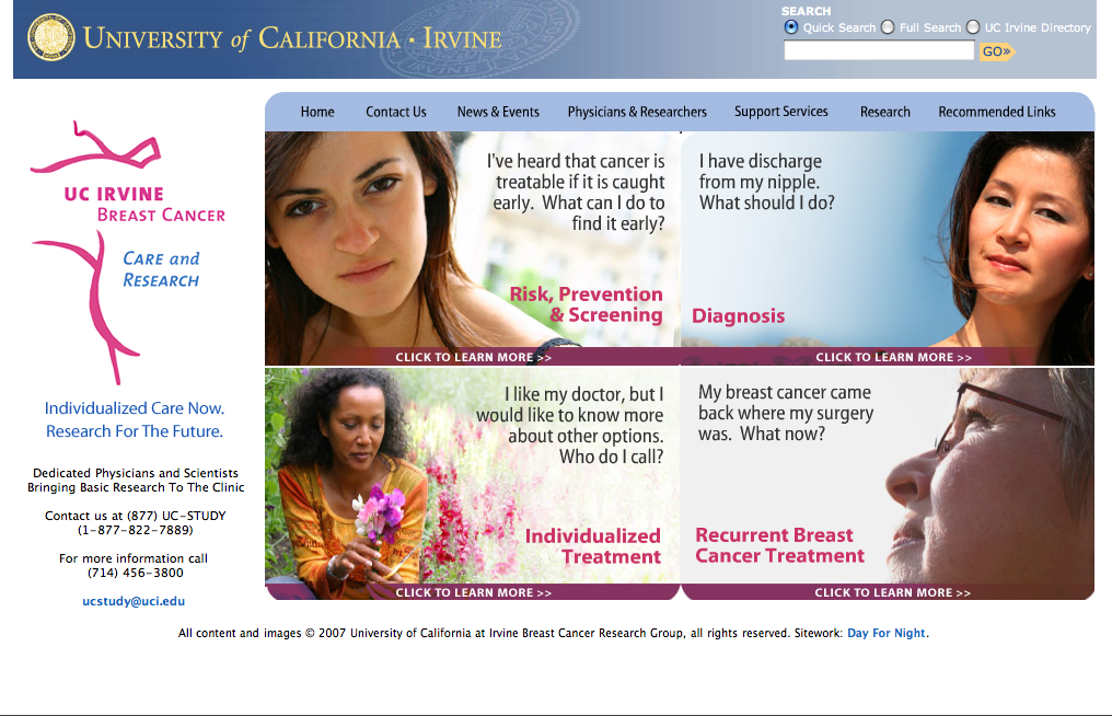 UC Irvine Breast Health.com - Art Direction & Design by Eric Scott (Day For Night)