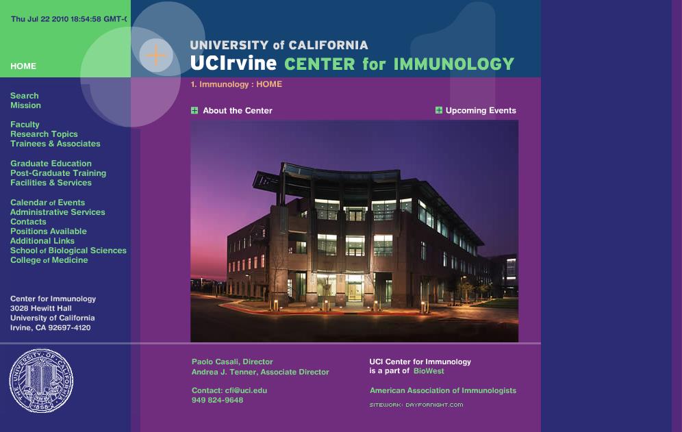 UC Irvine Center For Immunology (CFI) Custom Site - Art Direction & Design by Eric Scott (Day For Night)