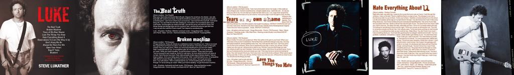 """Steve Lukather """"LUKE"""" front CD Booklet Panel - Design & Art Direction by Eric Scott (Day For Night)"""