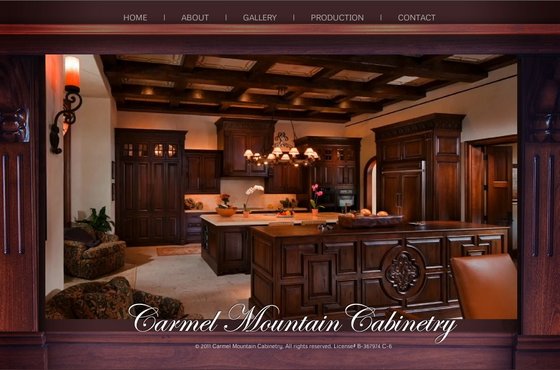 Carmel Mountain Cabinetry - Custom Site Design by Eric  Scott (Day For Night) in association with One Box.