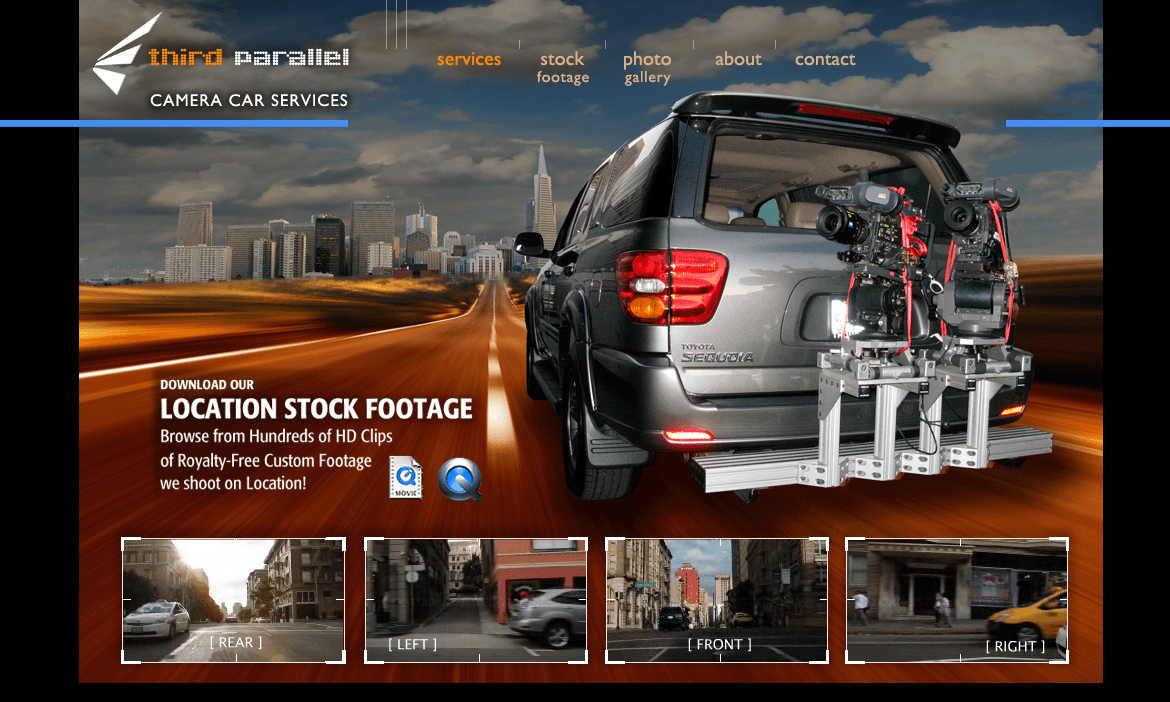 Third Parallel Camera Car Services - Site Design by Eric Scott (Day For Night), with Scott Yost (Photo/Video)